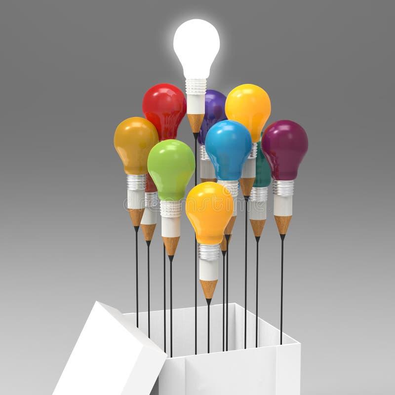 Begrepp för teckningsidéblyertspenna och för ljus kula utanför asken som CR royaltyfri illustrationer