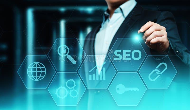 Begrepp för teknologi för affär för internet för Website för SEO Search Engine Optimization Marketing rangtrafik royaltyfri illustrationer