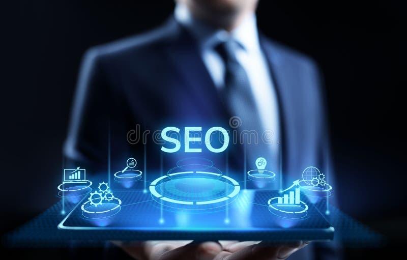 Begrepp för teknologi för affär för SEO Search motoroptimisation digitalt marknadsföra arkivfoto
