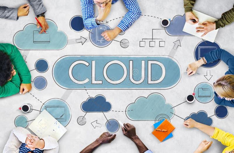 Begrepp för teknologi för lagring för data för molnberäkningsnätverk royaltyfri bild