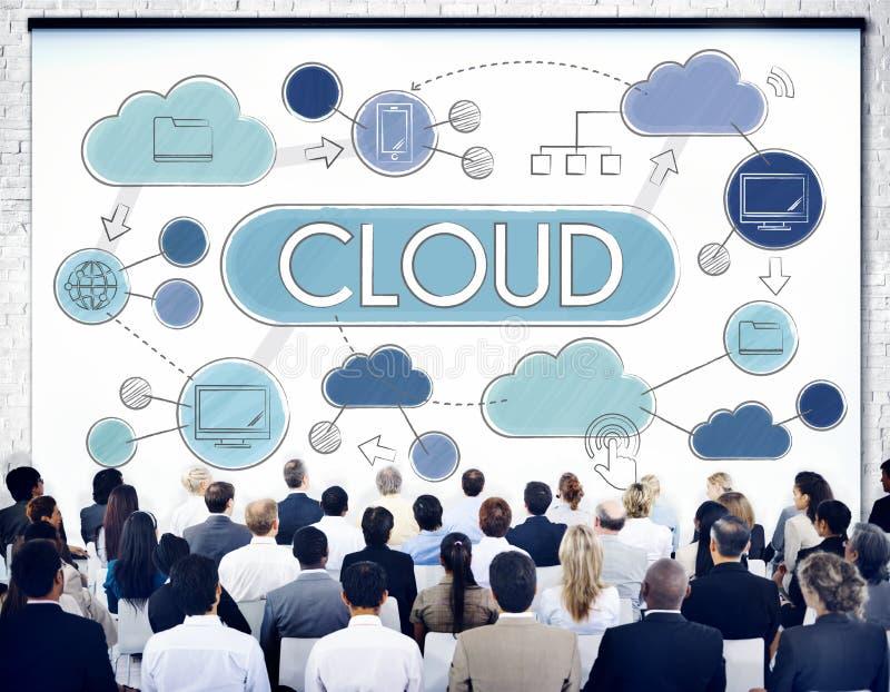 Begrepp för teknologi för lagring för data för molnberäkningsnätverk royaltyfria foton