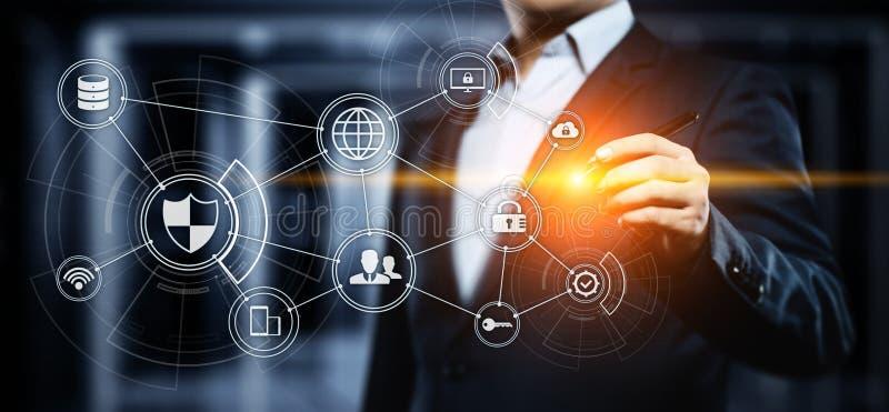 Begrepp för teknologi för internet för affär för avskildhet för säkerhet för Cyber för dataskydd royaltyfria bilder