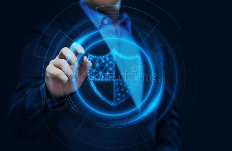 Begrepp för teknologi för internet för affär för avskildhet för säkerhet för Cyber för dataskydd vektor illustrationer