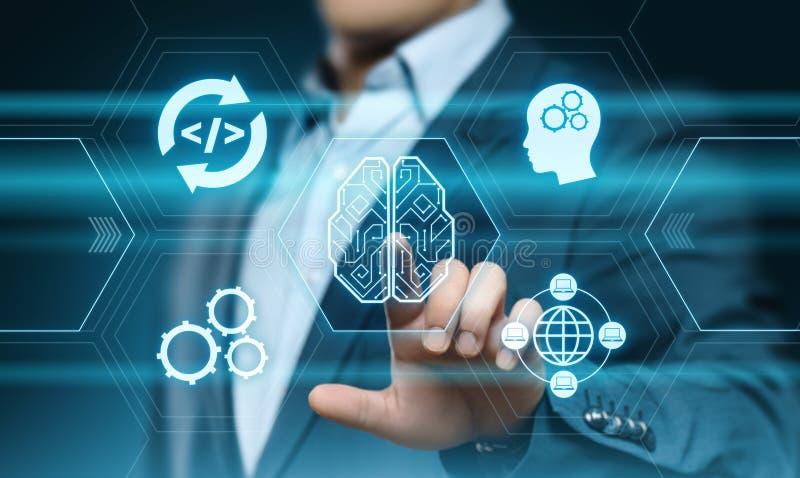 Begrepp för teknologi för internet för affär för lära för maskin för konstgjord intelligens royaltyfria foton