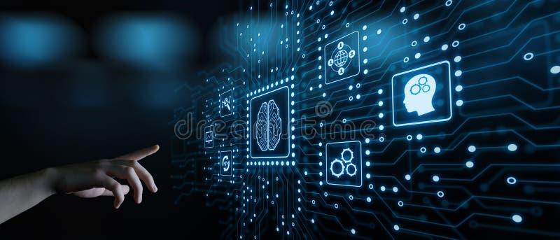 Begrepp för teknologi för internet för affär för lära för maskin för konstgjord intelligens royaltyfria bilder