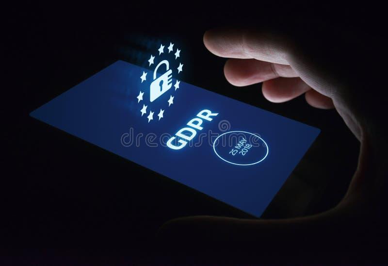 Begrepp för teknologi för internet för affär för reglering för skydd för allmänna data för GDPR arkivbilder