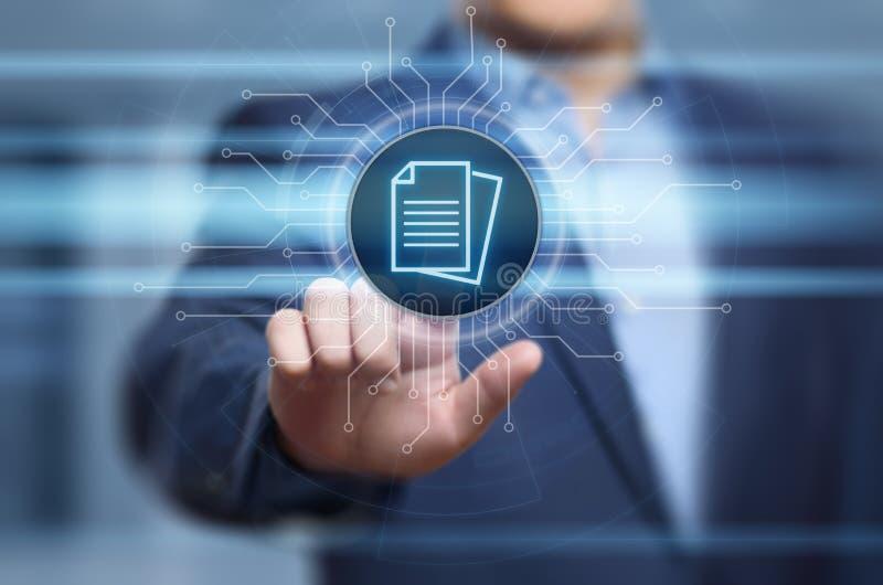 Begrepp för teknologi för internet för affär för system för dokumentledningdata arkivbild