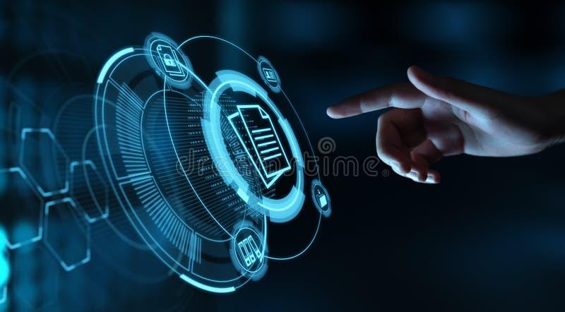Begrepp för teknologi för internet för affär för system för dokumentledningdata vektor illustrationer