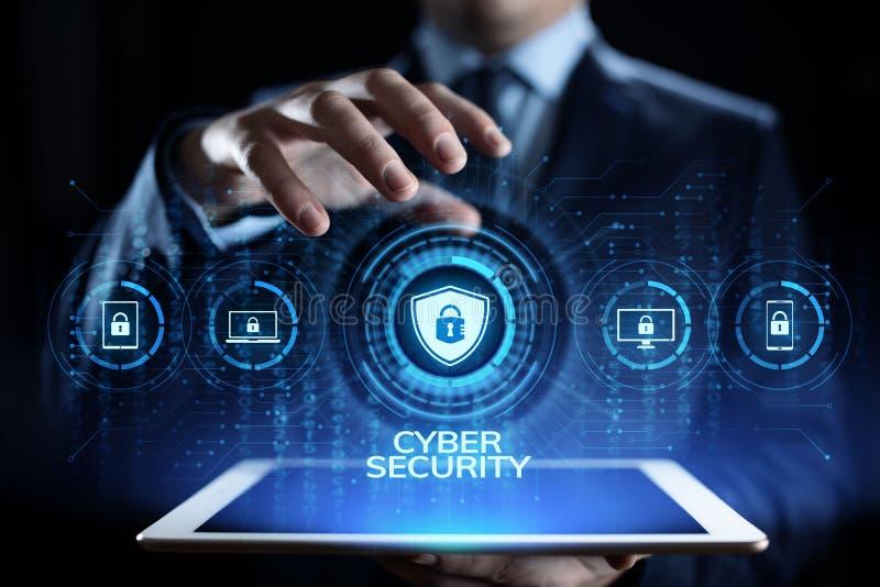Begrepp för teknologi för internet för avskildhet för information om skydd för Cybersäkerhetsdata stock illustrationer