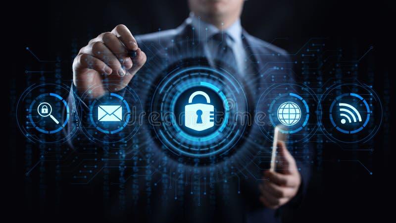 Begrepp för teknologi för internet för avskildhet för information om skydd för Cybersäkerhetsdata royaltyfri illustrationer