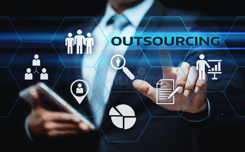 Begrepp för teknologi för internet för entreprenadiseringpersonalresursaffär arkivfoton