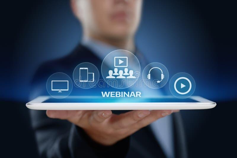 Begrepp för teknologi för internet för Webinar E-lärande utbildningsaffär royaltyfri bild