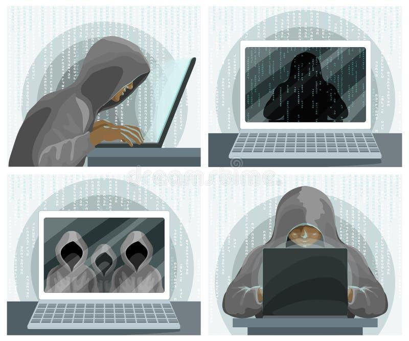 Begrepp för teknologi för säkerhet för en hackerinternetdator En hacker med bärbara datorn royaltyfri illustrationer