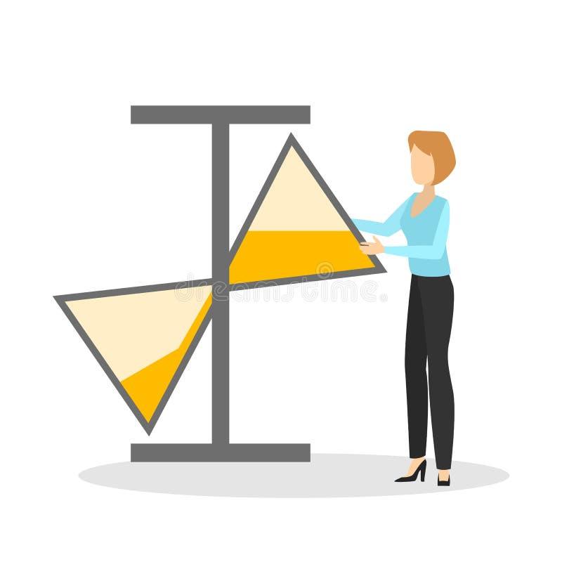 Begrepp för Tid ledning Affärskvinna med timglas stock illustrationer
