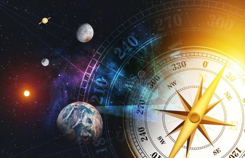 Begrepp för Tid maskin färgrik utrymmenebulosabakgrund över ljus [beståndsdelar av denna bild som möbleras av NASA] stock illustrationer