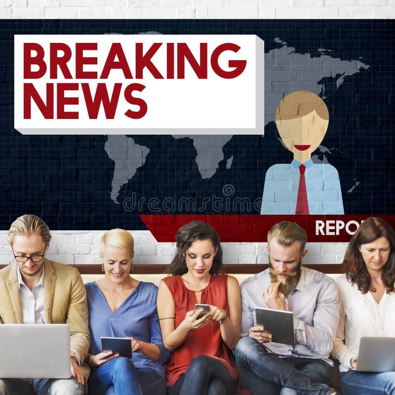 Begrepp för tidskrift för rubrik för TV-sändning för breaking newsartikel arkivbild