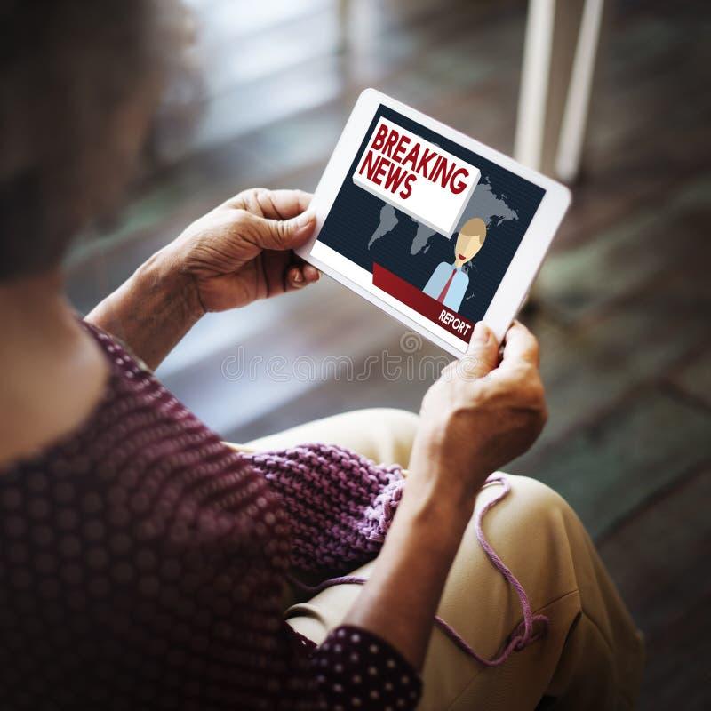 Begrepp för tidskrift för rubrik för TV-sändning för breaking newsartikel arkivbilder