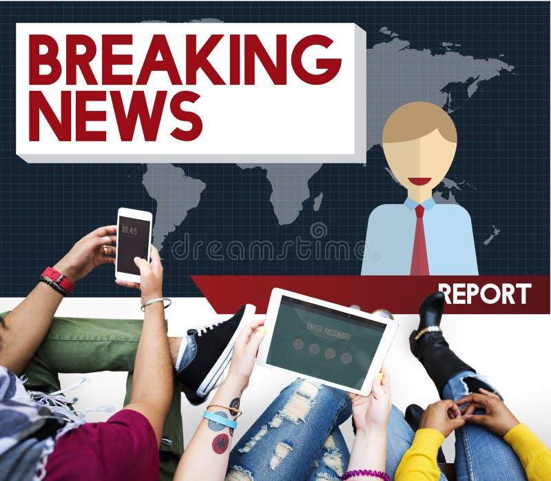 Begrepp för tidskrift för rubrik för TV-sändning för breaking newsartikel arkivfoto
