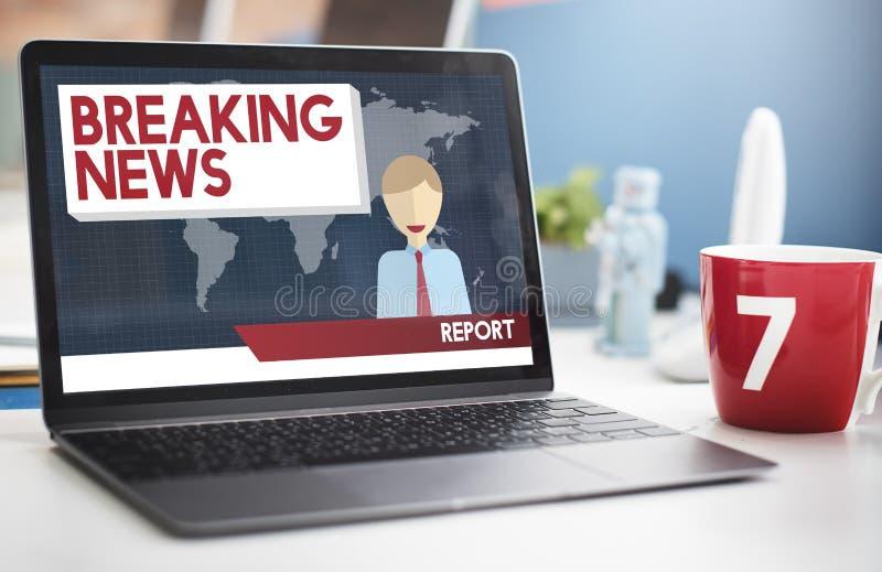 Begrepp för tidskrift för rubrik för TV-sändning för breaking newsartikel royaltyfri fotografi