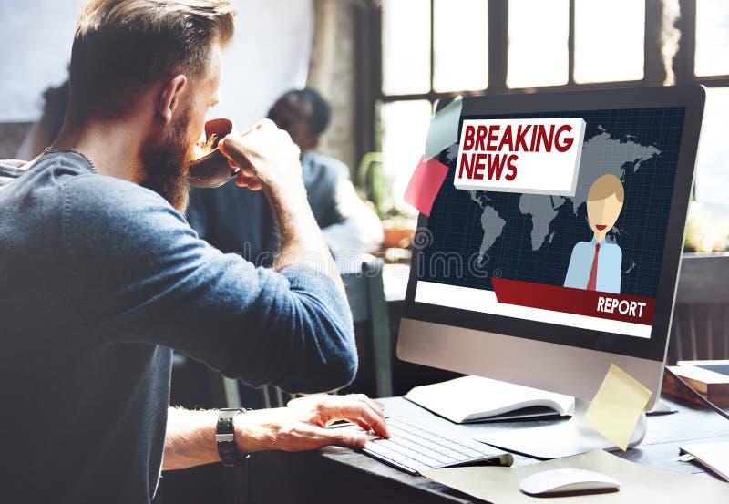 Begrepp för tidskrift för rubrik för TV-sändning för breaking newsartikel royaltyfri bild