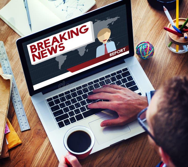 Begrepp för tidskrift för rubrik för TV-sändning för breaking newsartikel royaltyfria bilder