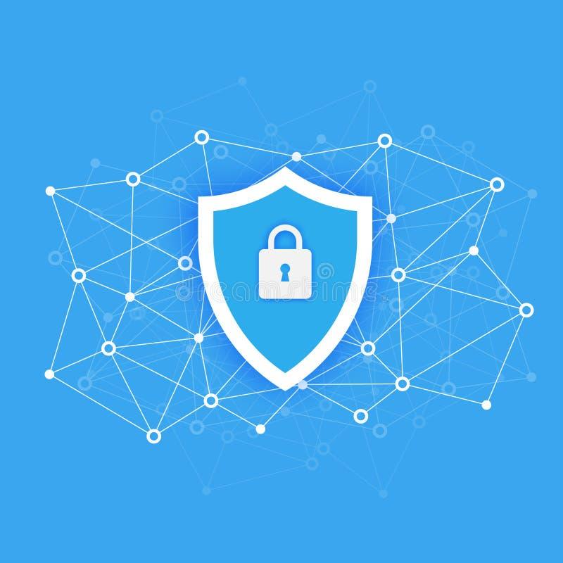 Begrepp för tillträde för datordatasäkerhet Skydda känsliga data Guld- text på mörk bakgrund Plan design, vektorillustration på stock illustrationer