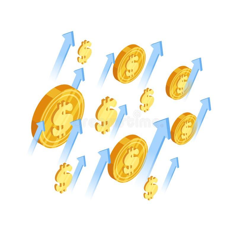 Begrepp för tillväxtdollarvektor Pilar och isometrisk illustration för dollarmynt stock illustrationer
