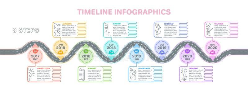 Begrepp för timeline för moment för navigeringöversiktsinfographics 8 Idérikt f stock illustrationer