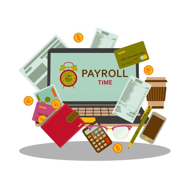 Begrepp för timpenningar för för lönelistalönbetalning och pengar i plan stil royaltyfri illustrationer