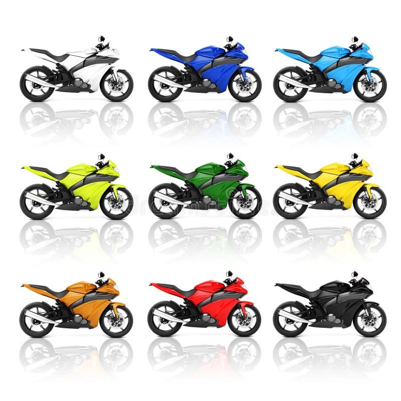 Begrepp för trans. för roadster för mopedmotorcykelcykel royaltyfri illustrationer