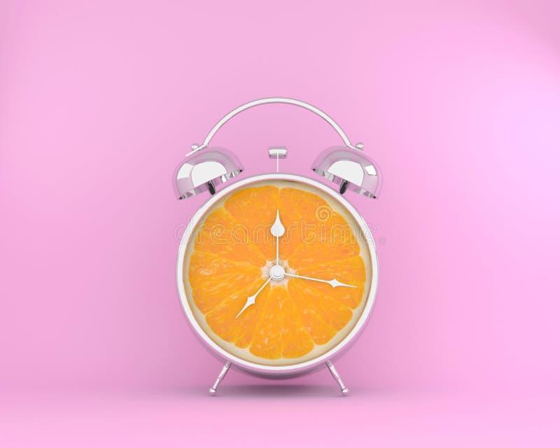 Begrepp för tropisk frukt som göras av den orange skivaringklockan på rosa färger arkivbilder