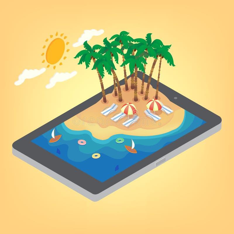Begrepp för tropisk semester för sommartid isometriskt stock illustrationer