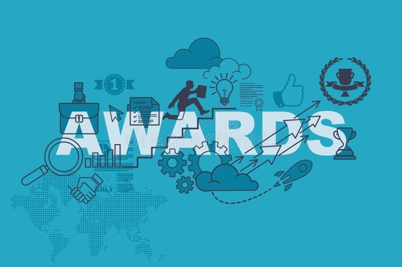 Begrepp för utmärkelsewebsitebaner med den tunna linjen lägenhetdesign stock illustrationer