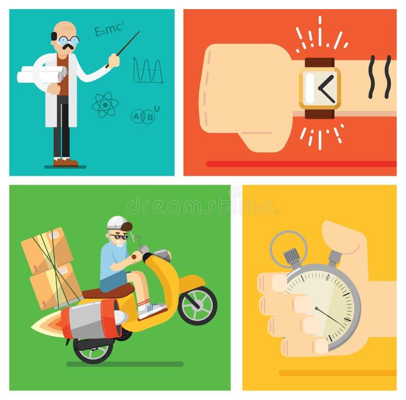 Begrepp för uttrycklig leverans, vektorsymbolsuppsättning stock illustrationer