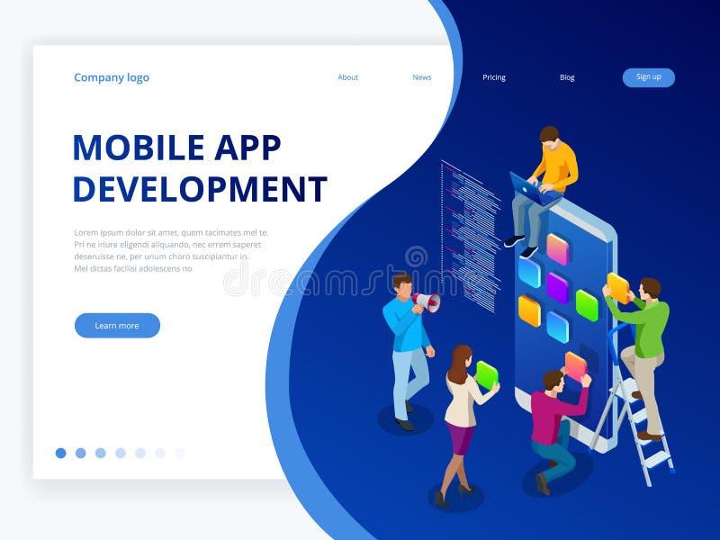 Begrepp för utveckling för app för isometriskt rengöringsdukbaner mobilt Visualization för process för mobilt teknologioperativsy royaltyfri illustrationer