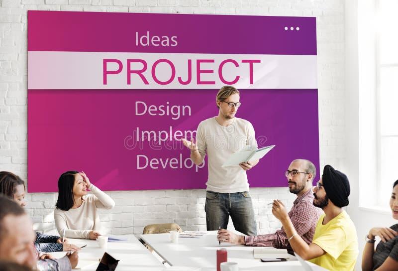 Begrepp för utveckling för verktyg för projektdesign arkivbild