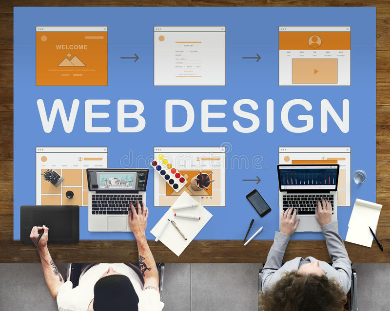 Begrepp för utveckling för Website för arbete för rengöringsdukdesign arkivbild
