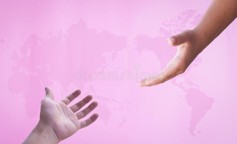 Begrepp för världscancerdag: Rosa världskarta fotografering för bildbyråer