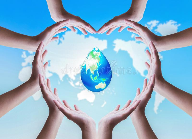Begrepp för världshavdag: Dag för vattenbeskydd royaltyfri foto