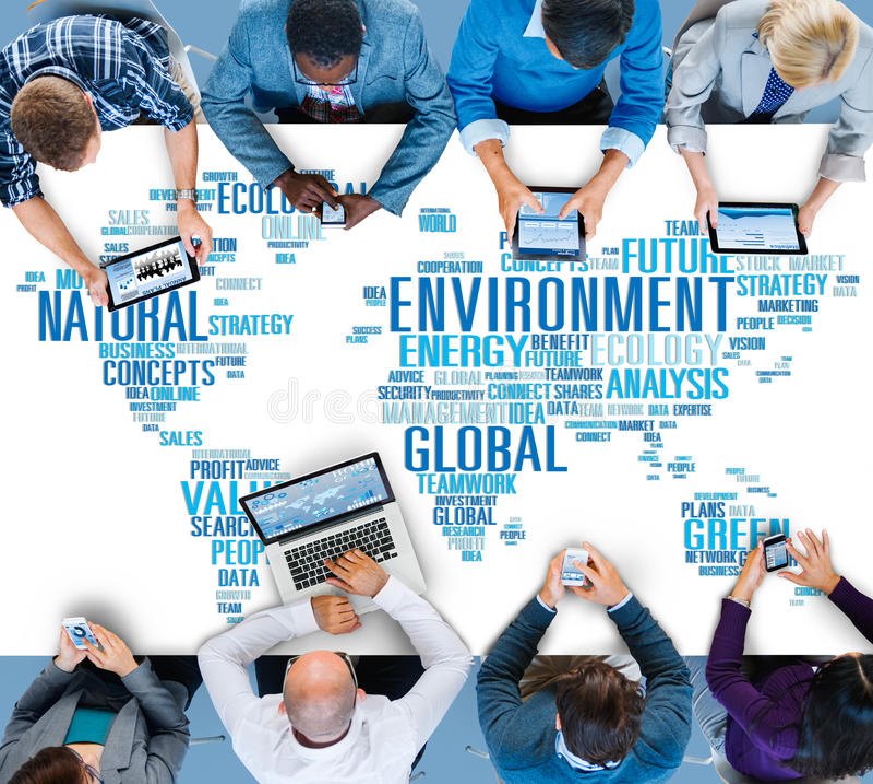 Begrepp för världskarta för naturlig hållbarhet för miljö globalt arkivfoto