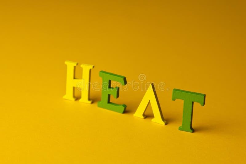 Begrepp för värmeskydd på stranden inskriftvärme på en gul bakgrund Top besk?dar royaltyfri foto