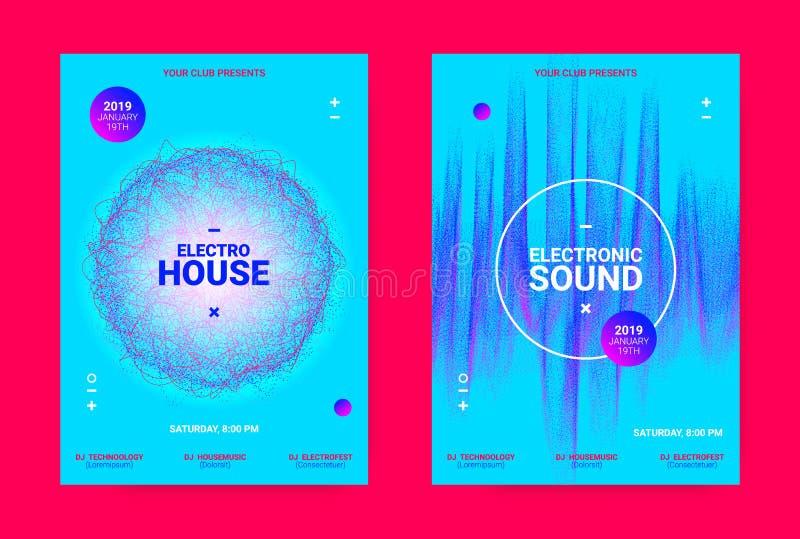 Begrepp för vågmusikaffisch Elektronisk solid reklamblad royaltyfri illustrationer