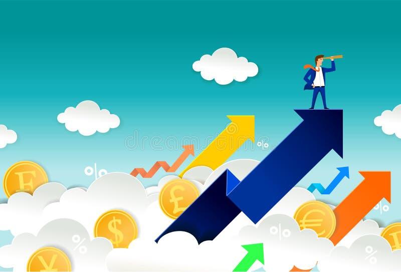 Begrepp för valutaaffärsmanvektor för rengöringsdukbanret, websitesida stock illustrationer