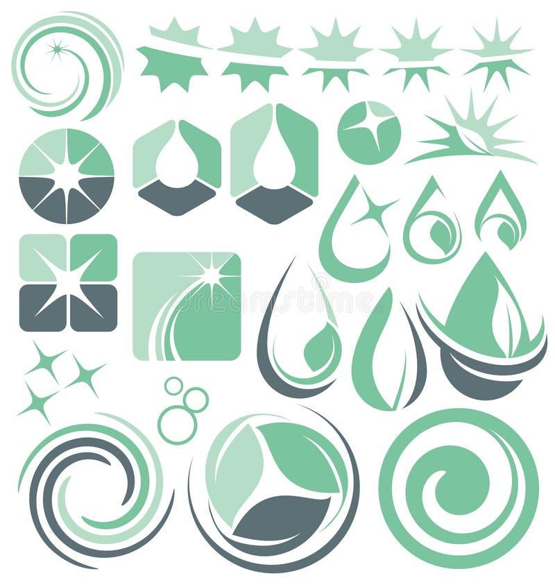 Begrepp för vatten- och lokalvårdlogodesign vektor illustrationer