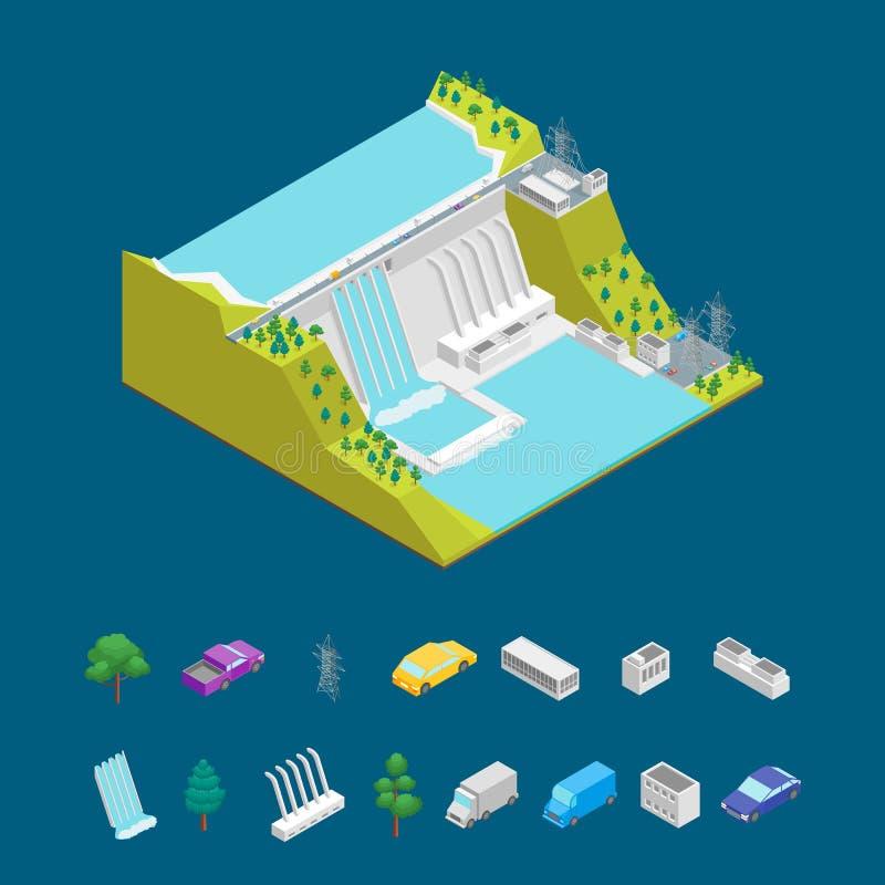 Begrepp för vattenkraftstation och isometrisk sikt för beståndsdelar 3d vektor royaltyfri illustrationer