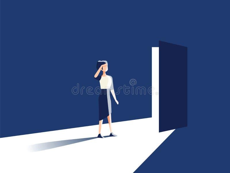 Begrepp för vektor för affärskvinnaöppningsdörr Symbol av den nya karriären, tillfällen, affärsföretag och utmaningar vektor illustrationer