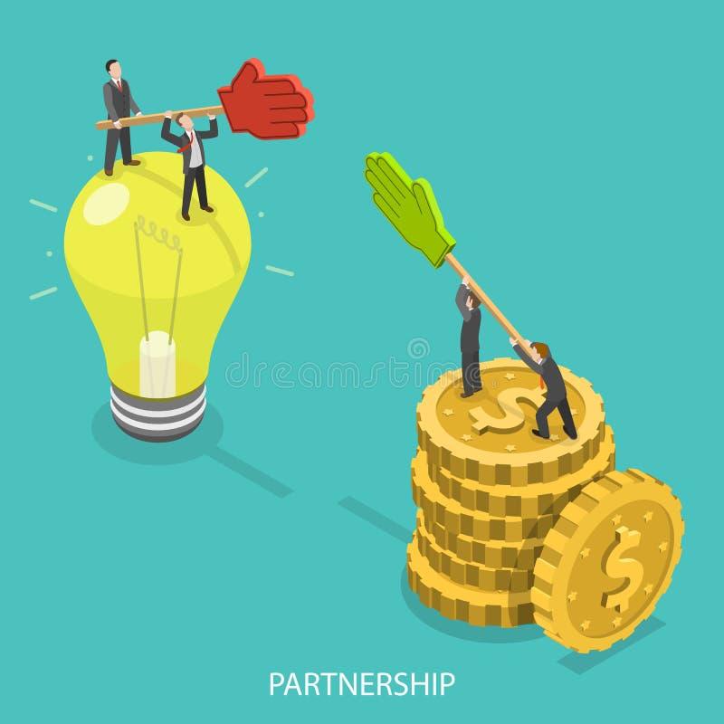 Begrepp för vektor för affärspartnerskaplägenhet isometriskt vektor illustrationer
