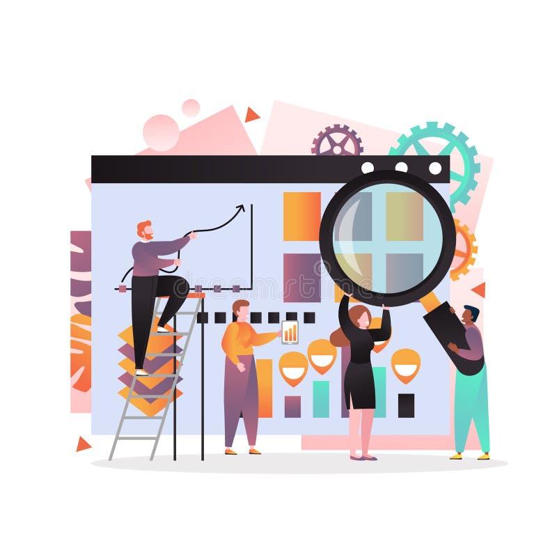Begrepp för vektor för affärsstrategi för rengöringsdukbanret, websitesida stock illustrationer