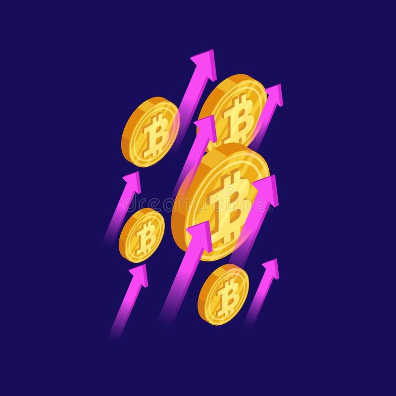 Begrepp för vektor för Bitcoin och cryptocurrencytillväxt isometriskt vektor illustrationer
