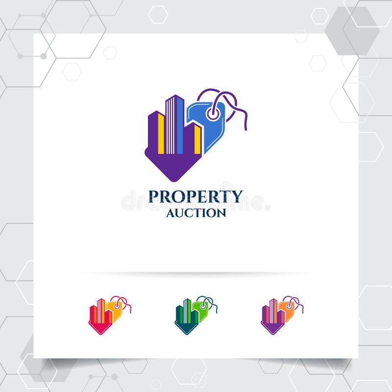 Begrepp för vektor för design för egenskapsförsäljningslogo av prislappsymbolen och fastighetillustrationen för konstruktion, upp stock illustrationer